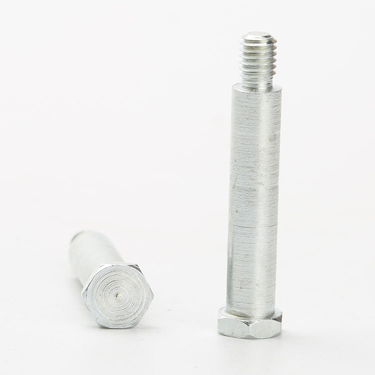 Hex Shoulder Screw White Zinc Plated Iron